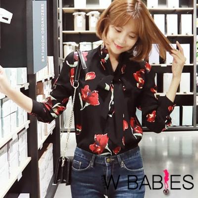 正韓 鮮紅印花領結長袖襯衫 (黑色)-W BABIES