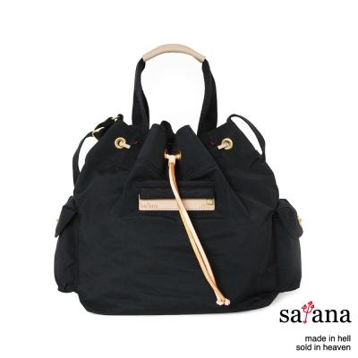 satana - 抽繩水桶包 - 黑色