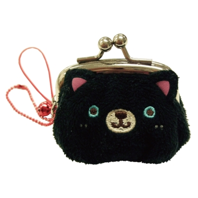 UNIQUE 動物樂園迷你珠扣零錢包 小黑貓