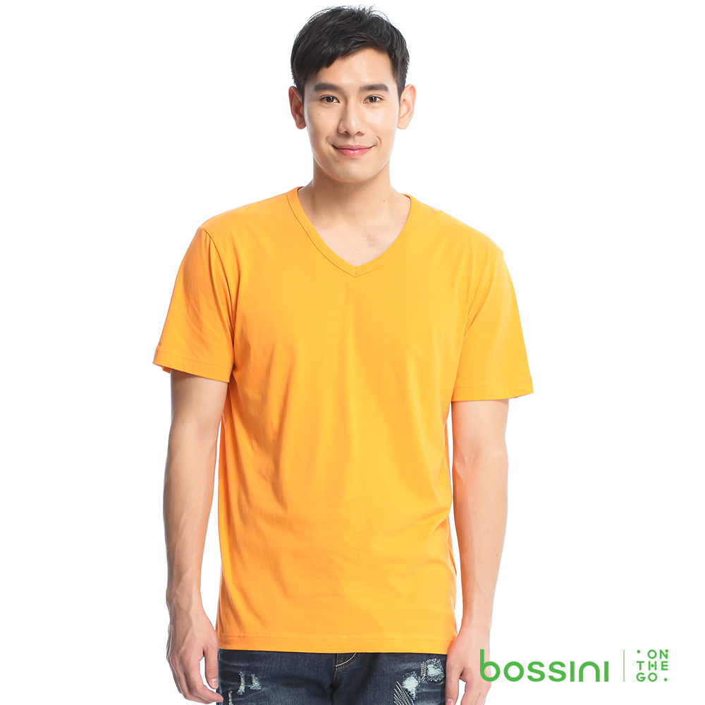 bossini男裝-素色純棉V領T恤12橘