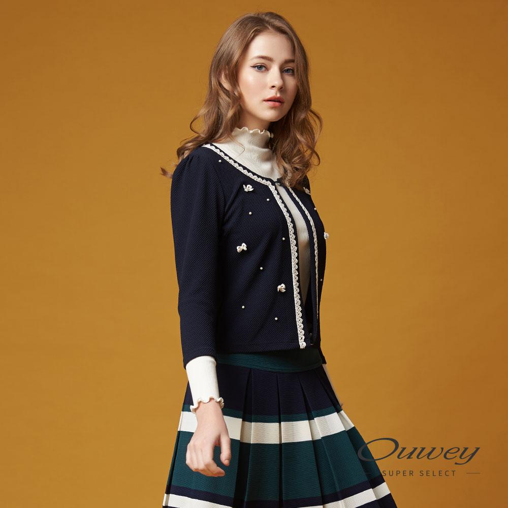 OUWEY歐薇 甜美優雅珠飾小外套(藍)-動態show @ Y!購物