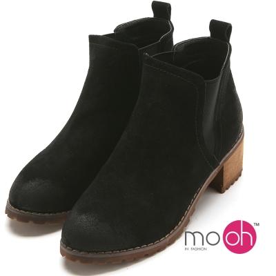 mo.oh 真皮做舊質感切爾西粗跟踝靴-黑色