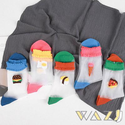 Wazi-美味食物玻璃絲襪短襪 (1組五入)
