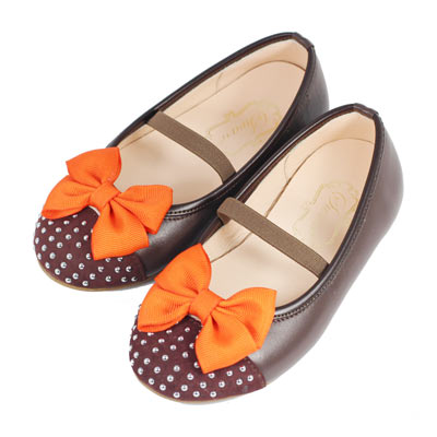 Swan天鵝童鞋-質感真皮鞋頭鑲銀珠娃娃鞋 3762-咖