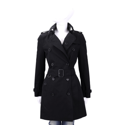 BURBERRY GABARDINE 黑色中長版棉質風衣(附腰帶)