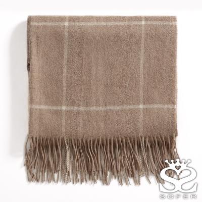SOFER-英倫格紋100-羊毛保暖袖口披肩-圍巾-經典駝