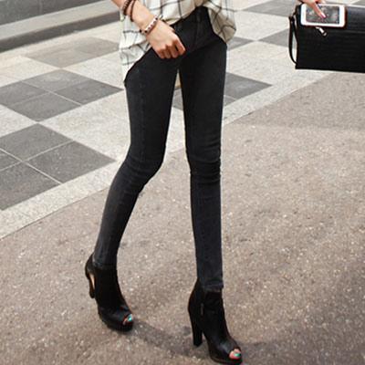 正韓 顯瘦線條彈性修身單寧褲 (共二色)-N.C21
