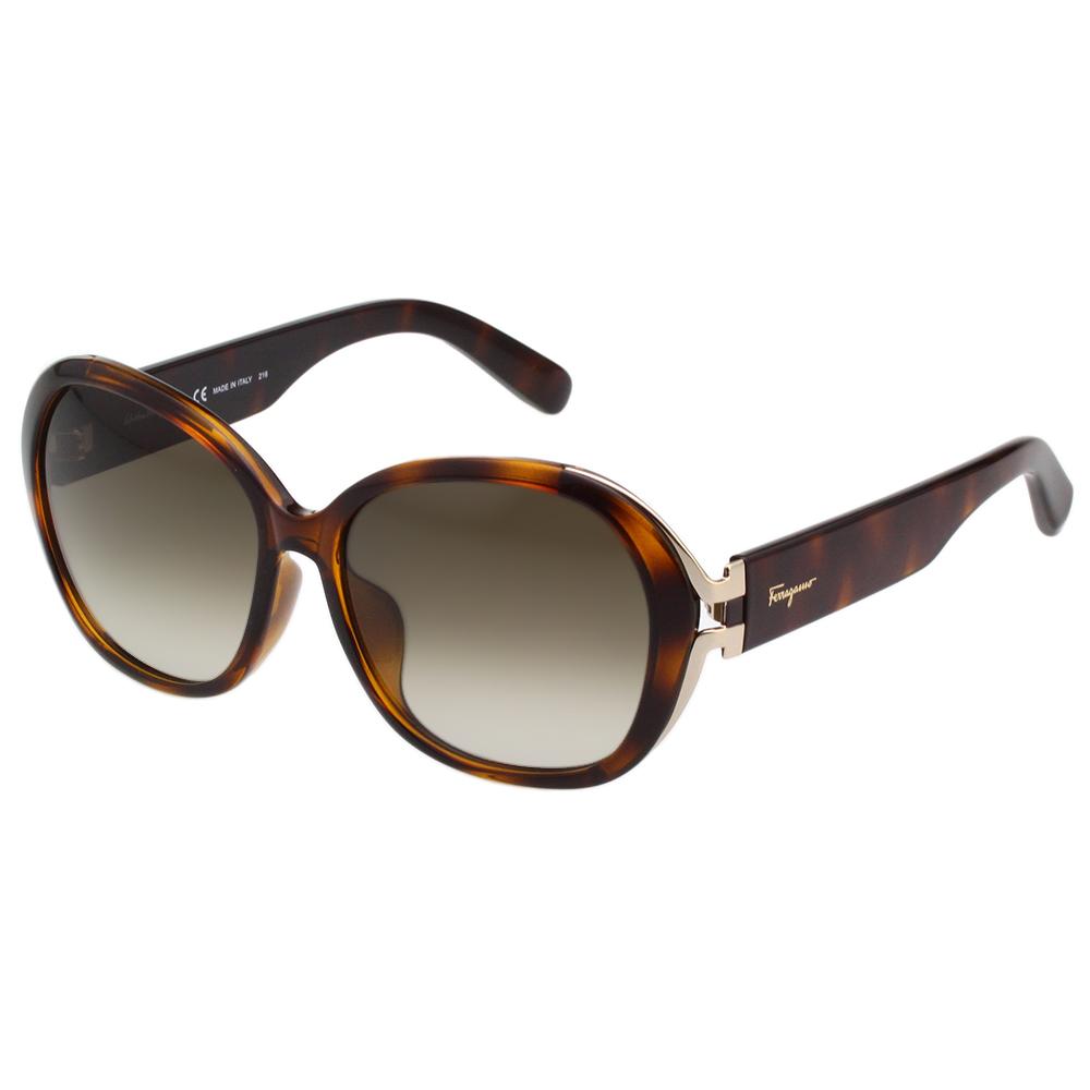 Salvatore Ferragamo- 復古圓框 太陽眼鏡(琥珀色)SF800SA