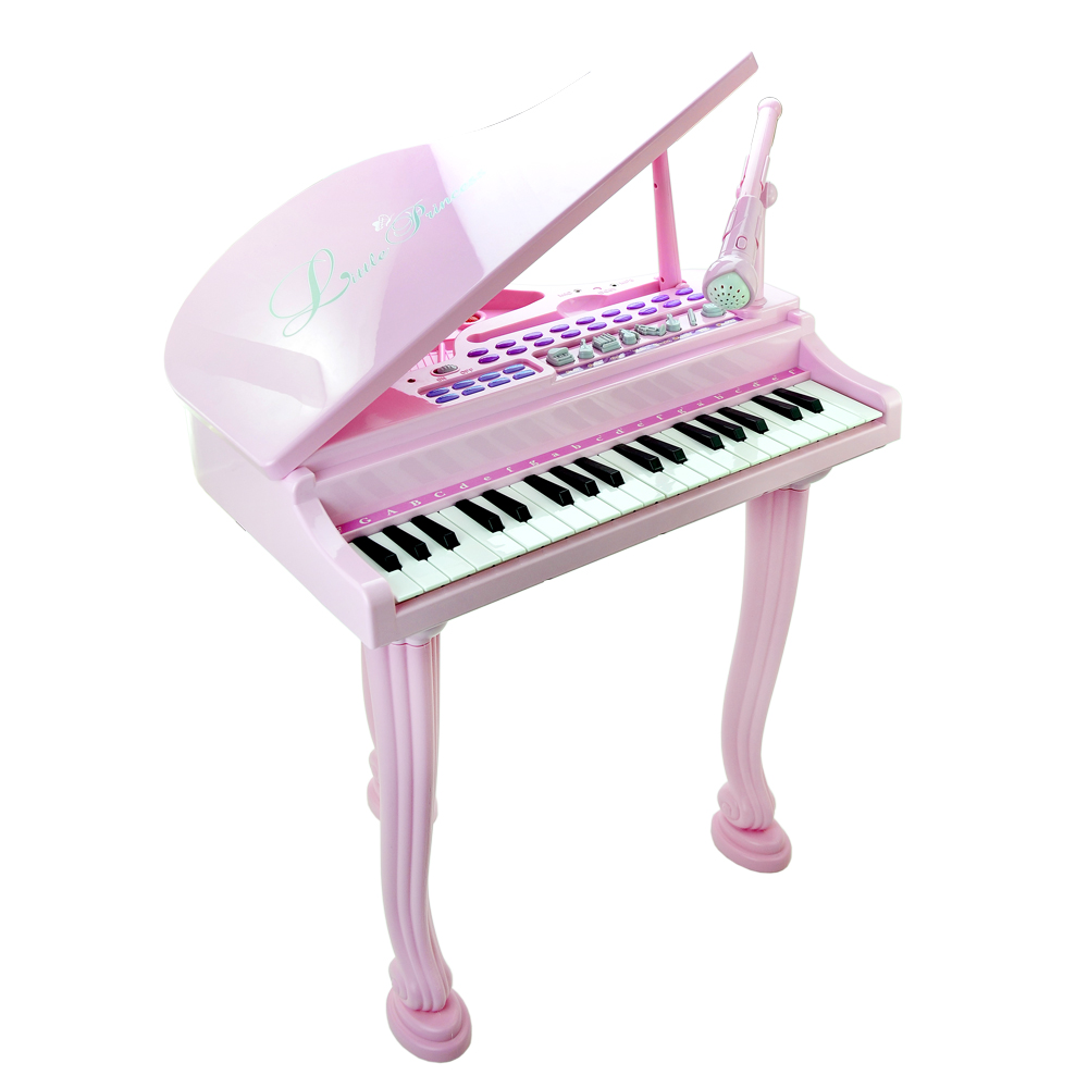 《Princess Piano》三角鋼琴造型可接MP3附麥克風組裝式電子琴