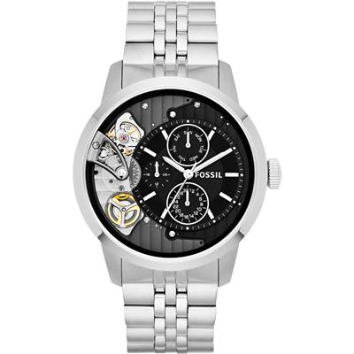 FOSSIL Machine Twist 雙機芯多功能腕錶-黑/銀/44mm