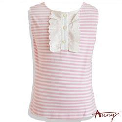 甜美條紋荷葉單排釦無袖上衣*9354粉