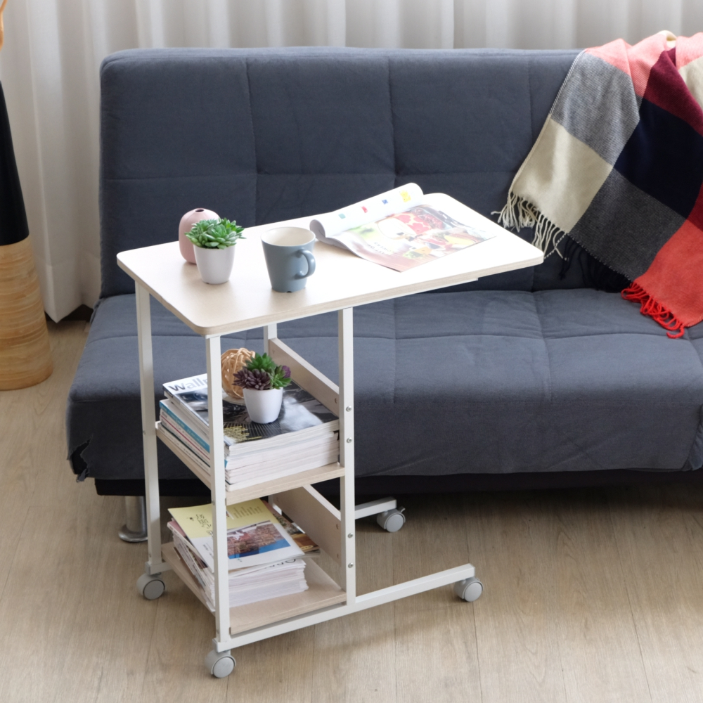 EASY HOME-防潑水耐熱美學邊桌(原木+白)-70x40x72cm-DIY