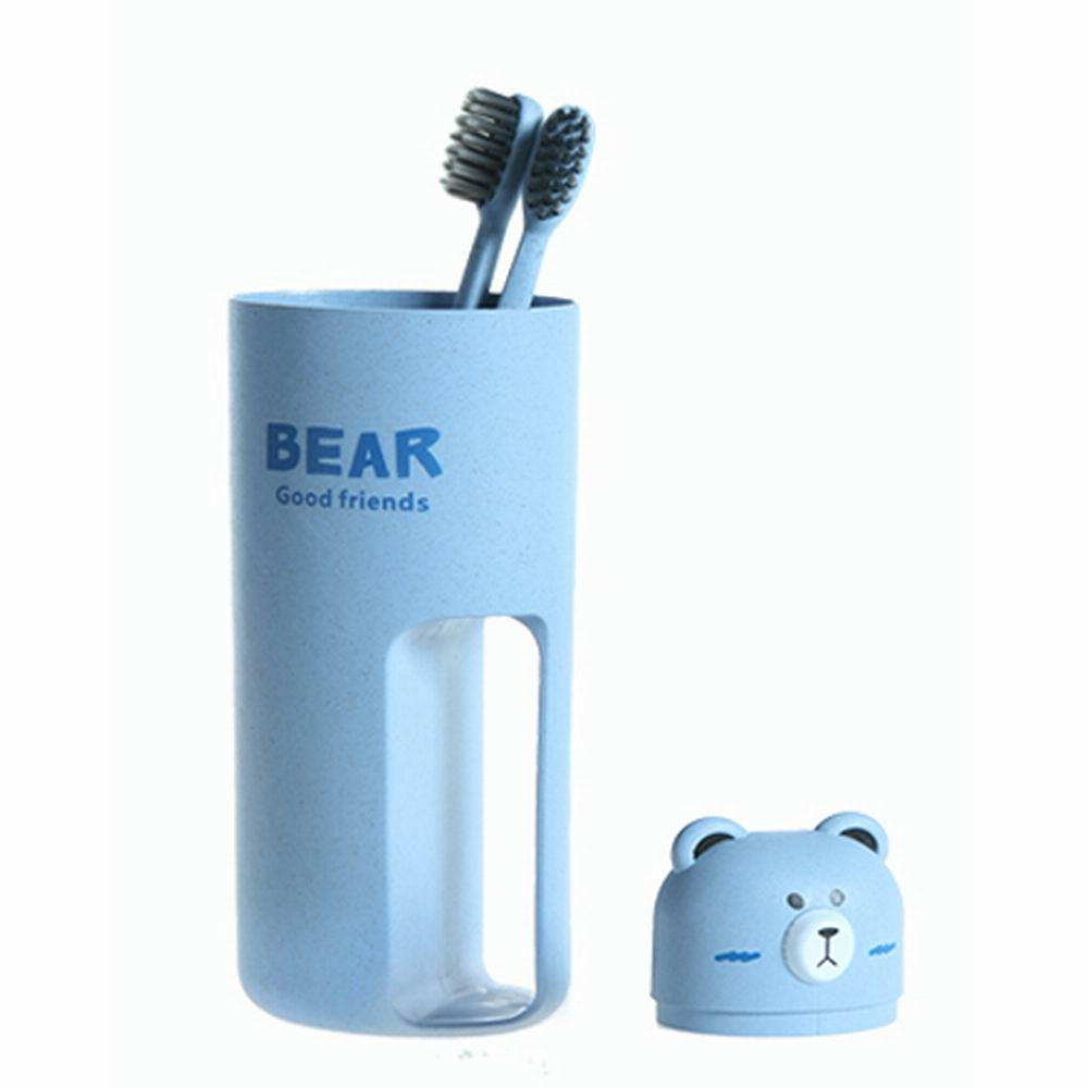 iSFun 臉紅熊熊 麥纖維牙刷雙人漱口杯 4色可選