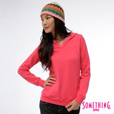 SOMETHING-心動甜心-簡潔俏麗前口袋連帽長T-女款-桃紅