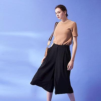 今年時尚必備打摺七分闊腿顯瘦造型寬褲-黑