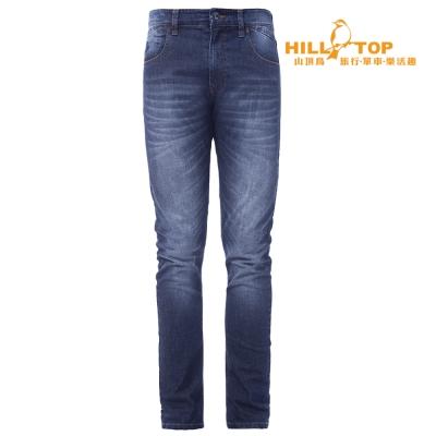 【hilltop山頂鳥】男款涼感吸濕排汗彈性牛仔褲S07MA4牛仔藍