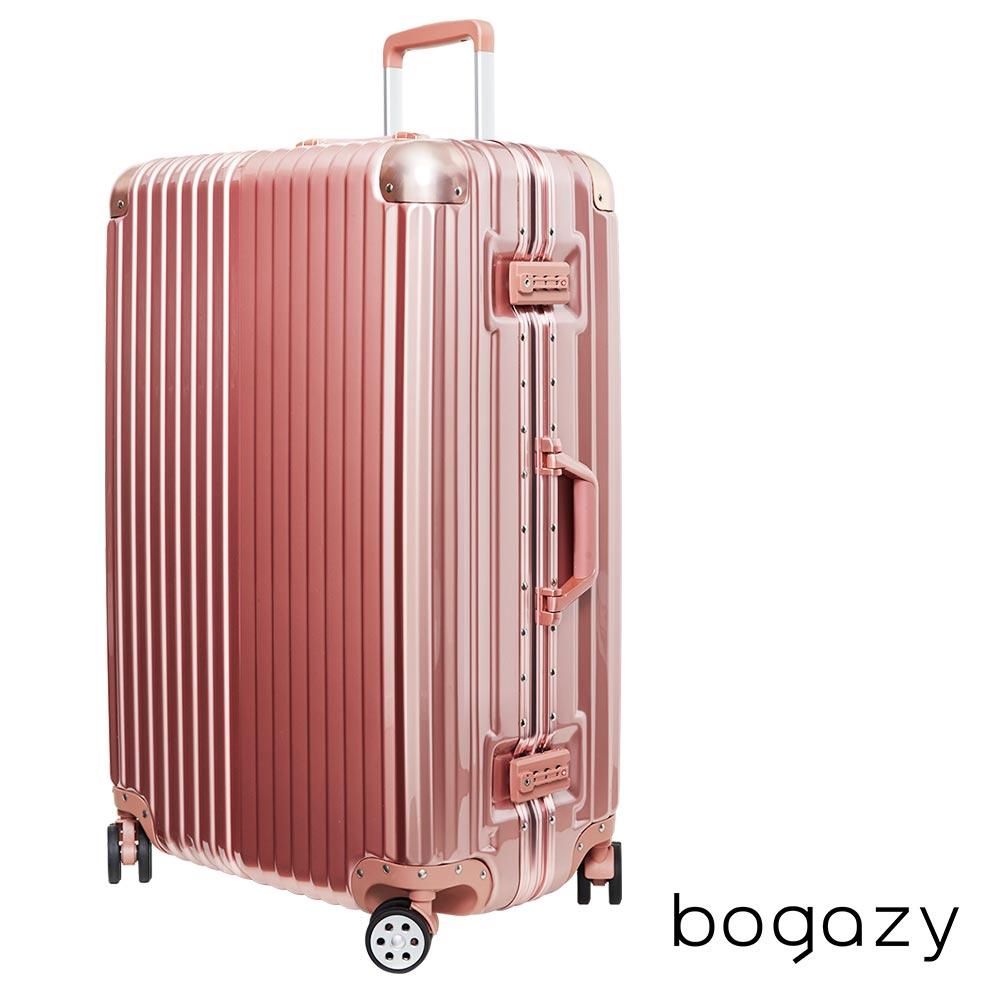Bogazy 迷幻森林 20吋鋁合金防撞角PC鏡面鋁框行李箱(玫瑰金)