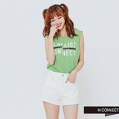 H:CONNECT 韓國品牌女裝-PLAY LIST字母棉質背心-綠 - 動態show