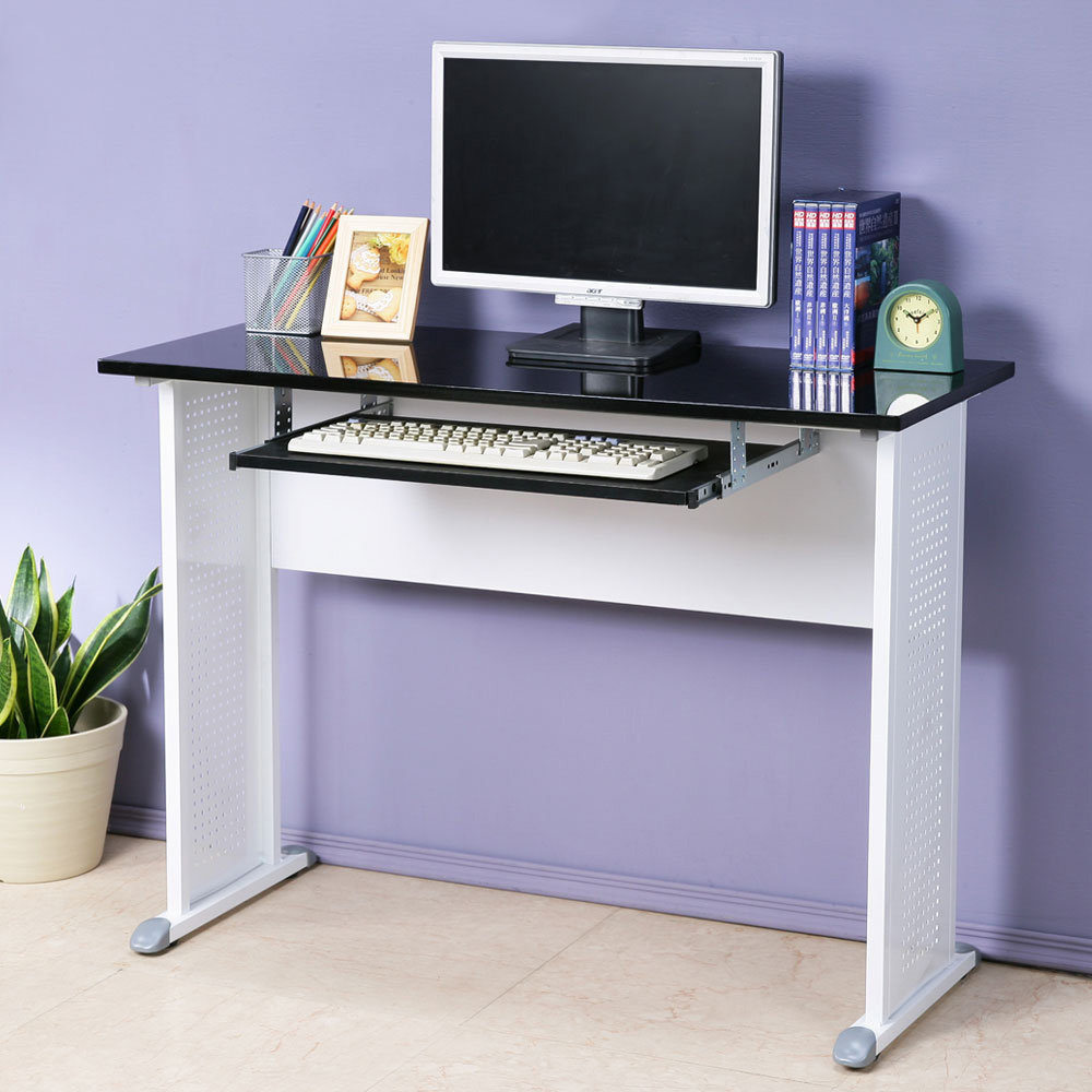 Homelike 皮特工作桌(附鍵盤)-亮面烤漆-100x40x74cm