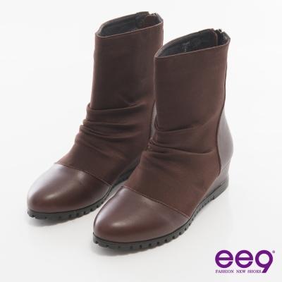 ee9 完美時尚~經典異材質拼接素面造型拉鏈短靴*咖啡色