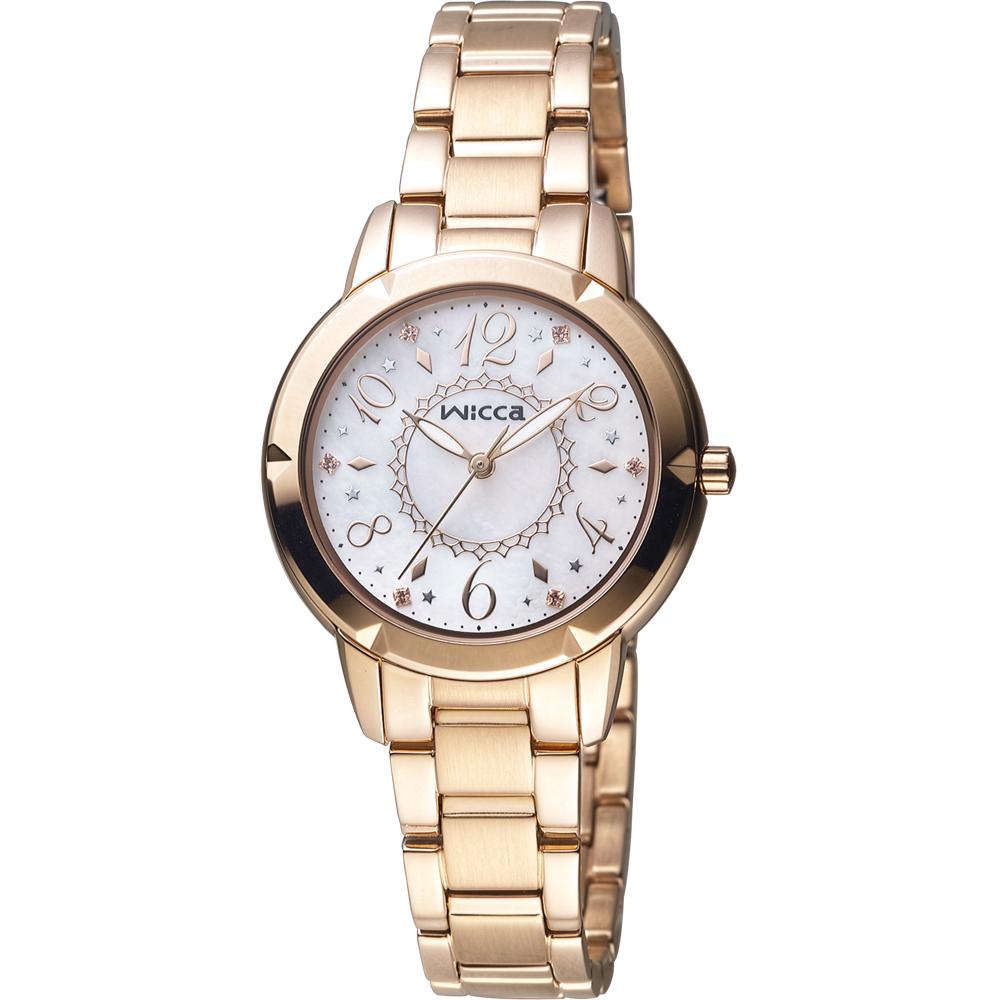 WICCA 愛莉絲夢遊仙境 時尚腕錶(BT2-769-91)-玫瑰金色/32mm