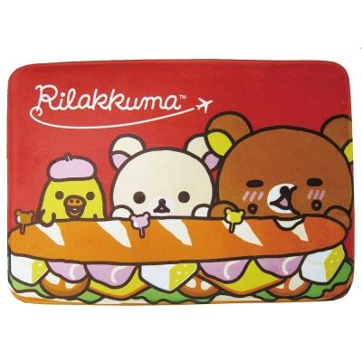 拉拉熊 漢堡好好吃 法蘭絨厚地墊(紅)
