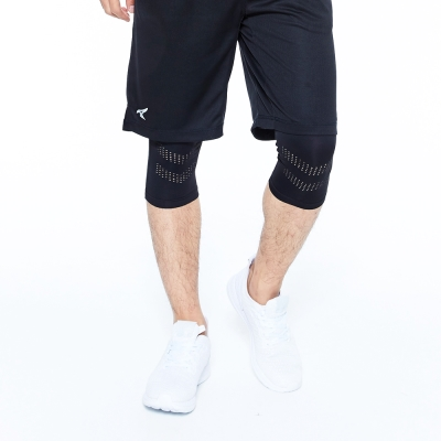 【AIRWALK】素色運動緊身七分褲-黑色