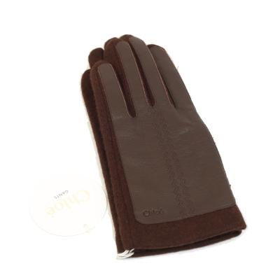 CHLOE 皮革拼接羊毛手套(咖啡色)