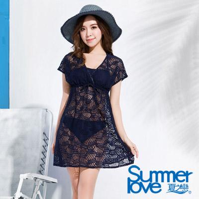 夏之戀SUMMERLOVE 比基尼泳裝 連身裙三件式 深藍色