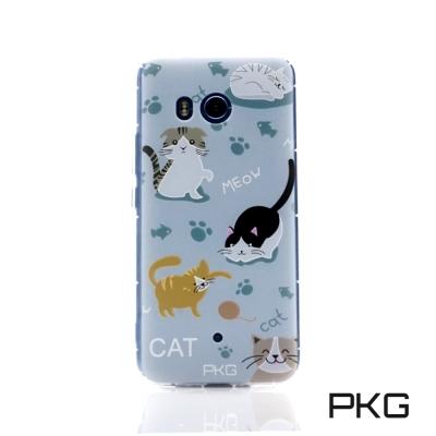 PKG HTC U11空壓氣囊保護殼-浮雕彩繪-玩耍貓