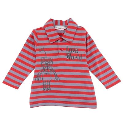 愛的世界-純棉橫條紋機器人長袖POLO衫-紅灰-6