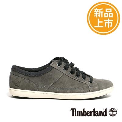 Timberland-女款灰色麂皮素面綁帶休閒鞋