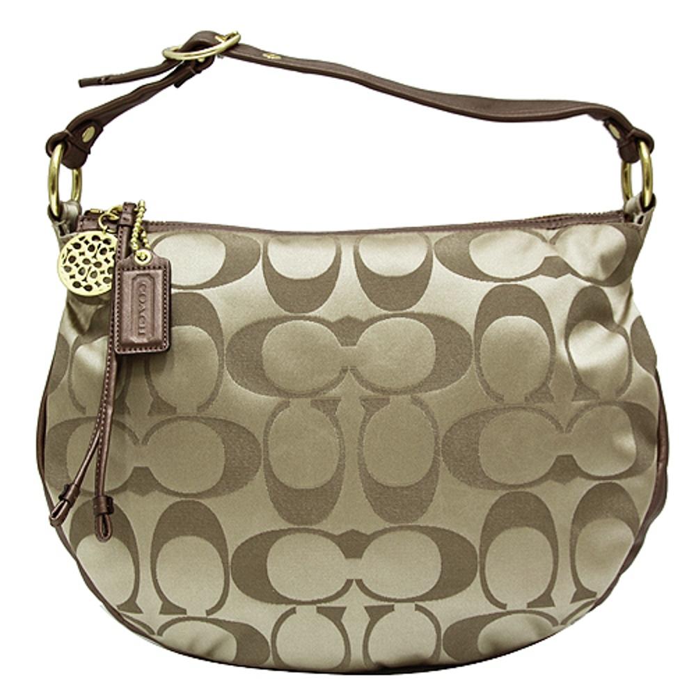 COACH C LOGO圓弧皮飾邊織布肩背包-卡其銅