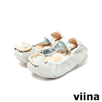 viina-親子鞋系列-C型珍珠摺疊鞋(童)-灰藍色