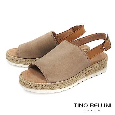 Tino Bellini 西班牙進口簡約寬帶魚口麻編楔型涼鞋_ 淺駝
