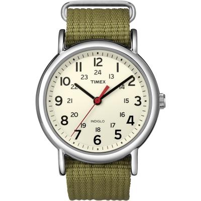 TIMEX-天美時Weekender週末系列手錶-米x綠/38mm