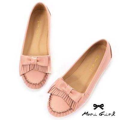 Mori girl流蘇蝴蝶結牛皮莫卡辛豆豆鞋 粉