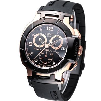 TISSOT 天梭 T-RACE 競速系列計時腕錶-黑x玫瑰金色/45mm