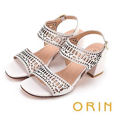 ORIN 夏日異國時尚 幾何簍空牛皮粗高跟涼鞋-白色