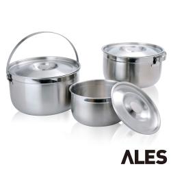 WOKY沃廚 ALES系列316不鏽鋼調理鍋3入組(16+19+22CM)