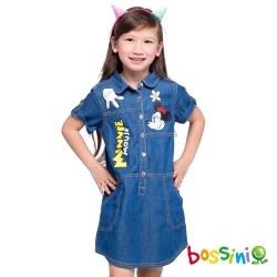 bossini女童-迪士尼牛仔連身裙08靛