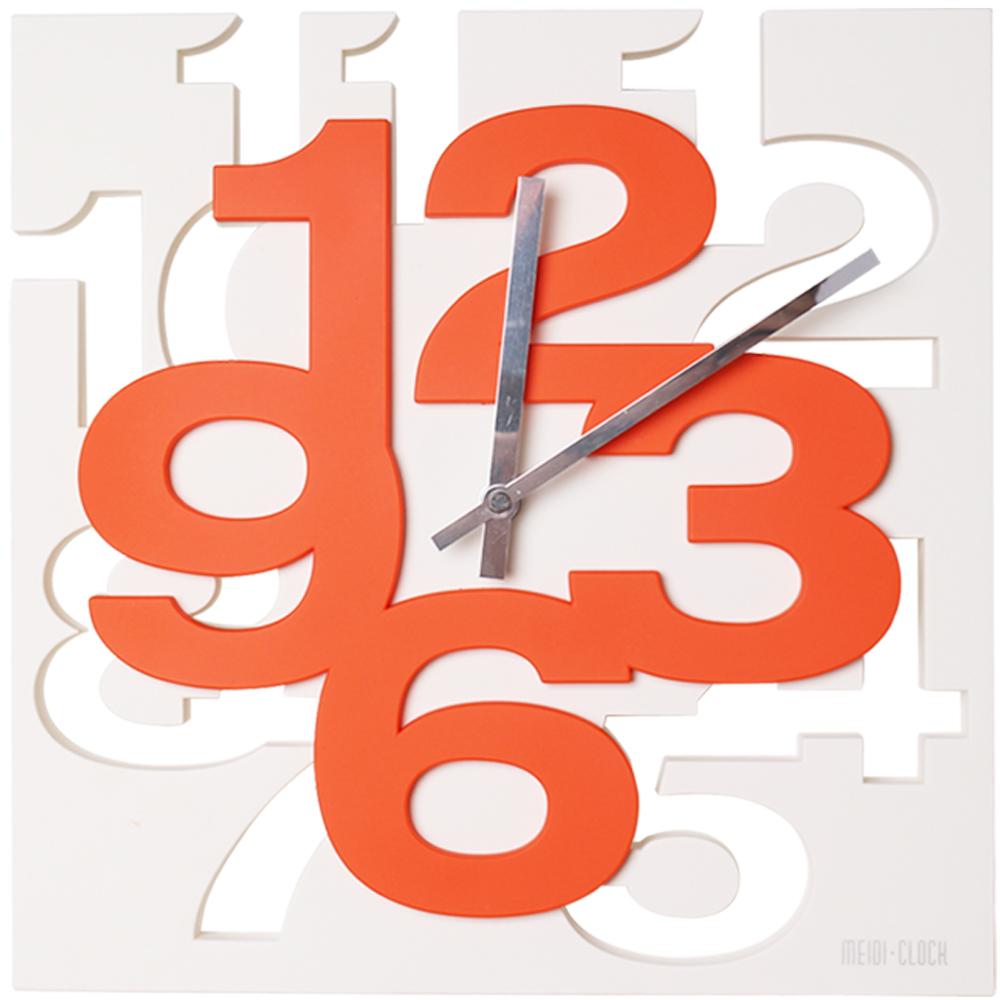 BUGU布咕 卡瑞立體數字配色時鐘/掛鐘/壁鐘-橘色
