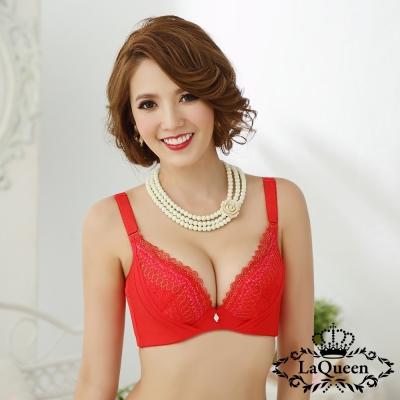 內衣 優雅魅力超包覆成套內衣-紅  La Queen