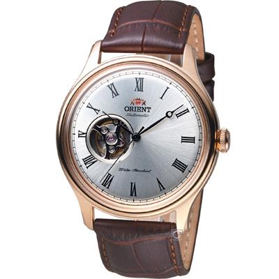 ORIENT 東方錶 SEMI-SKELETON 系列小鏤空機械錶-白x玫瑰金/43mm