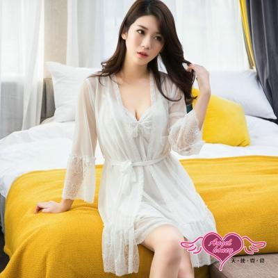 罩衫 慵懶柔情 蕾絲氣質二件式少女居家睡衣(白F) AngelHoney天使霓裳