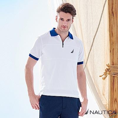 Nautica撞色拉鍊式短袖POLO衫 -白
