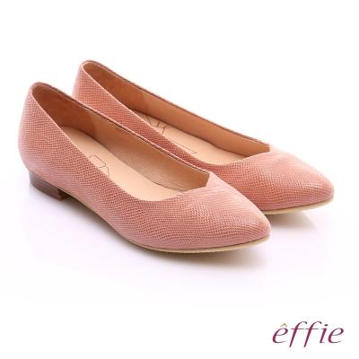 effie繽紛舒適 絨面真皮桃型鞋口低跟鞋 橘
