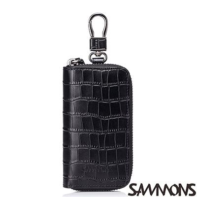 SAMMONS-真皮亞歷克斯簡約鑰匙包-尊爵黑