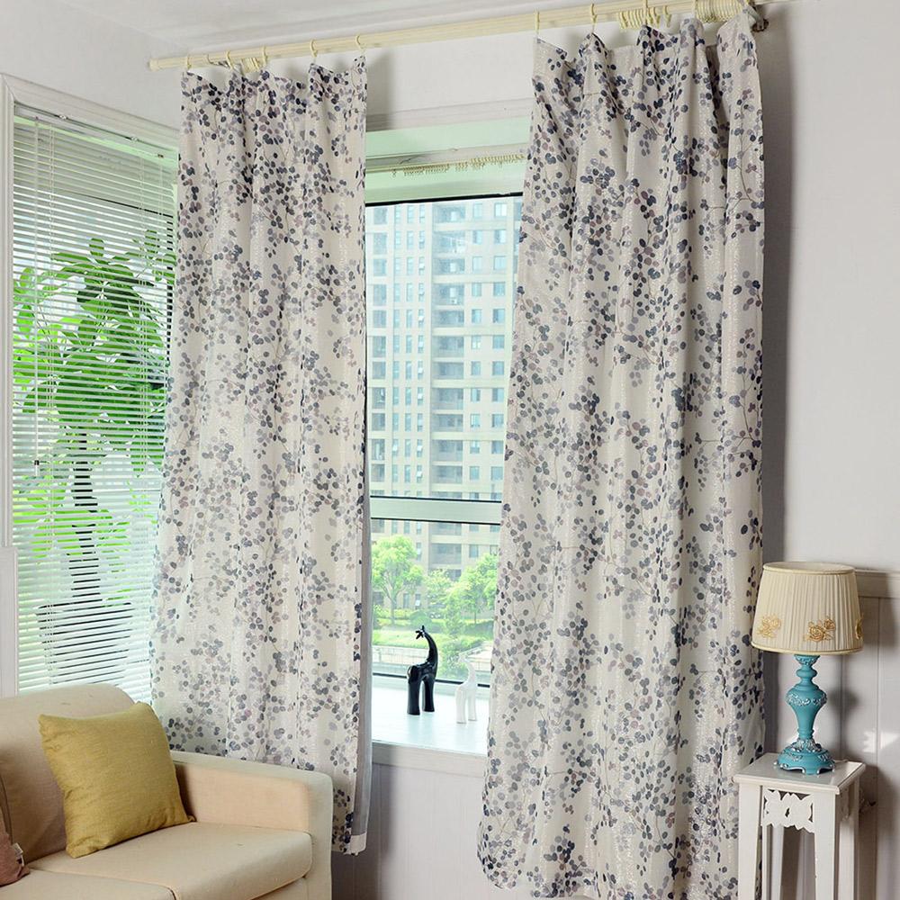 伊美居 金果印花雙層遮光紗窗簾 130x210cm (2件)