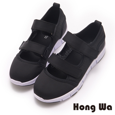 Hong Wa 時尚韓風二條帶魔鬼貼造型休閒鞋-黑